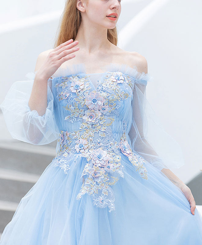 Blue tulle lace long prom dress, blue lace evening dress