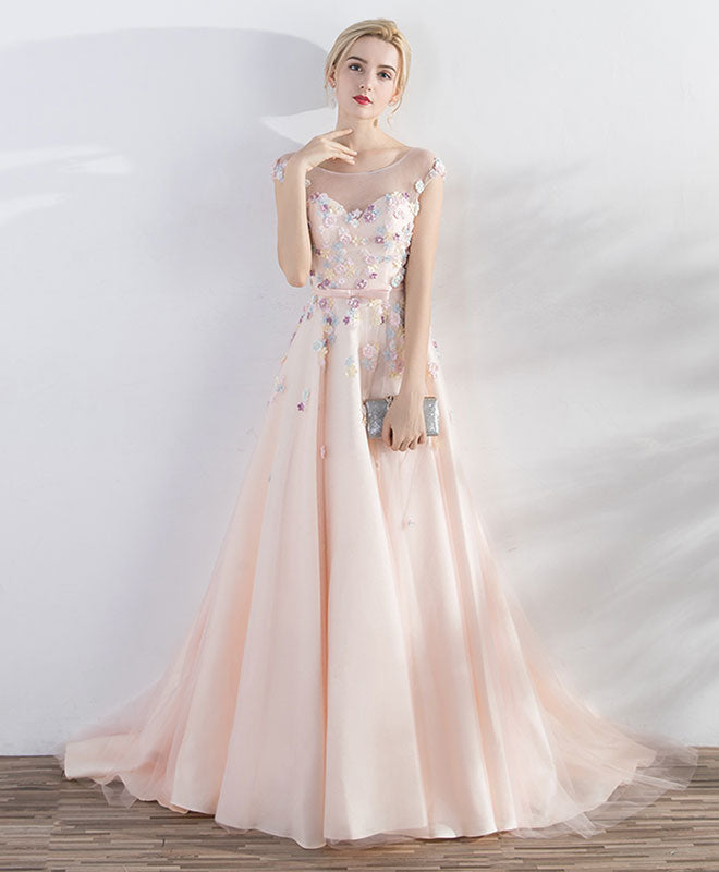 Champagne pink round neck tulle long prom dress, evening dress