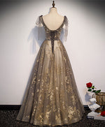 Elegant v neck gray gold tulle lace long prom dress tulle formal dress