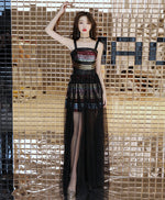 Unique black tulle long prom dress, black tulle evening dress