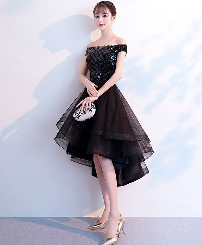 Black tulle short prom dress, black tulle evening dress