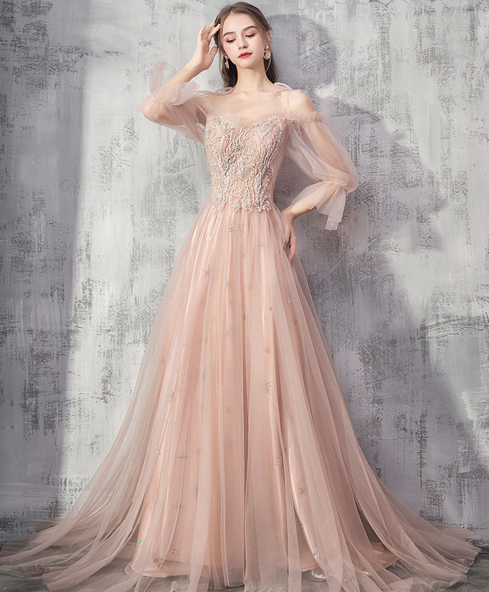 Champagne tulle lace long prom dress champagne tulle formal dress