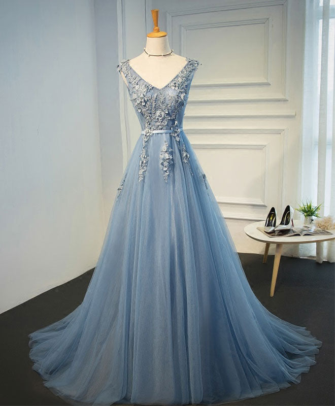 Blue A line v neck tulle lace long prom dress, evening dress