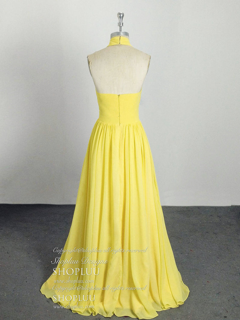 Simple chiffon yellow long prom dress, yellow evening dress