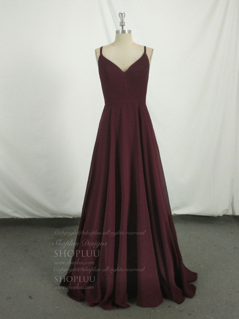 Simple chiffon burgundy long prom dress, burgundy evening dress