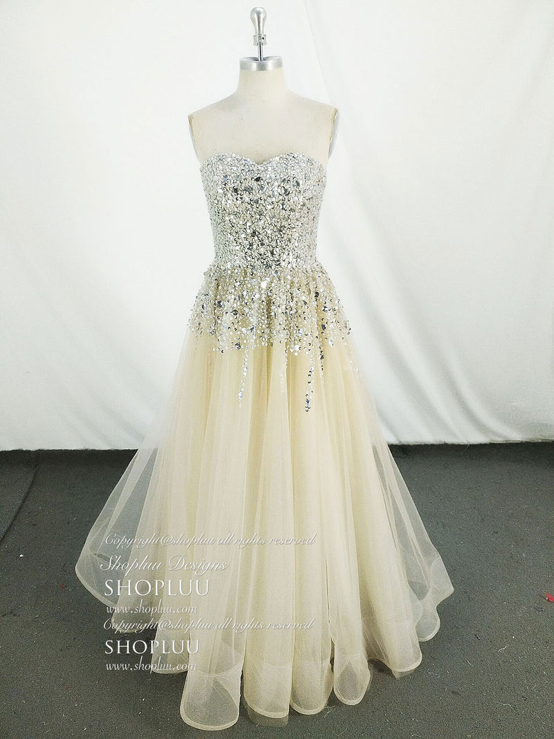 Champagne tulle sequin long prom dress tulle evening dress