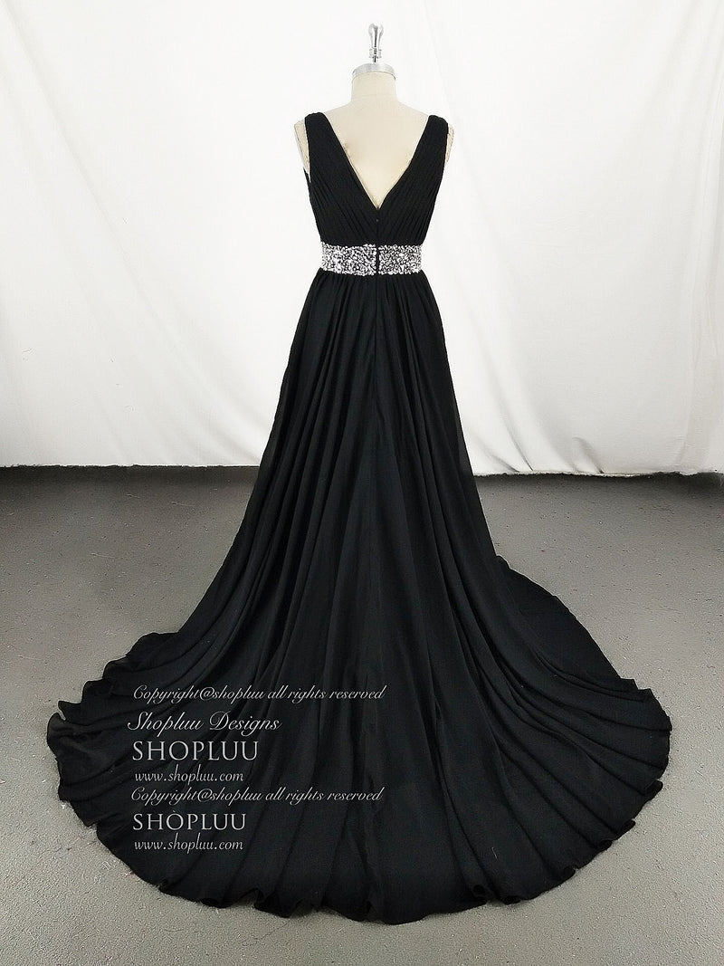 Black v neck chiffon sequin long prom dress, black evening dress