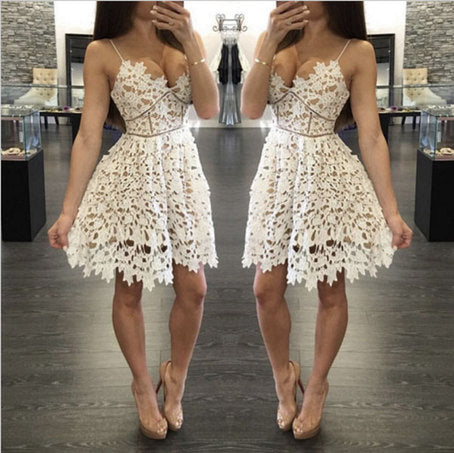 Cute v neck white lace short prom dress, fashion girl dress