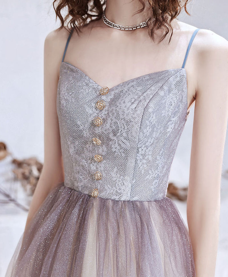 Simple sweetheart tulle sequin long prom dress tulle formal dress