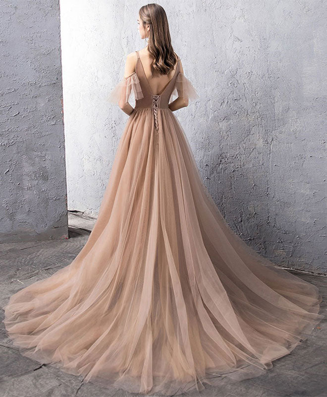 Champagne tulle lace long prom dress, champagne lace evening dress