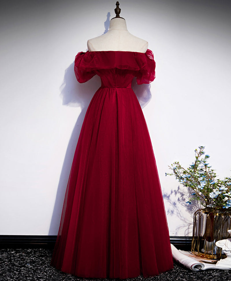 Simple tulle burgundy long prom dress burgundy evening dress