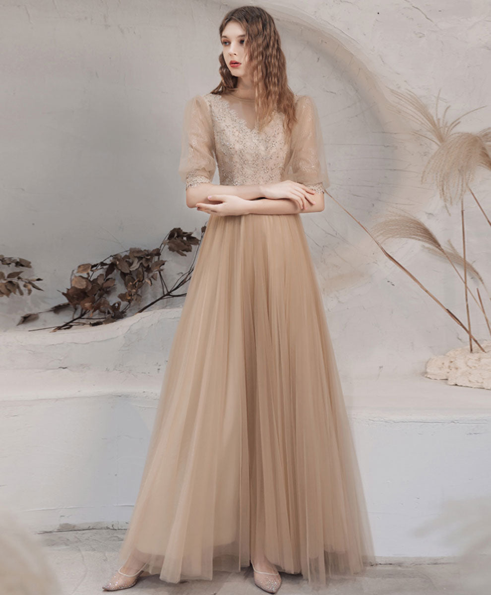 Champagne high neck tulle lace long prom dress champagne evening dress