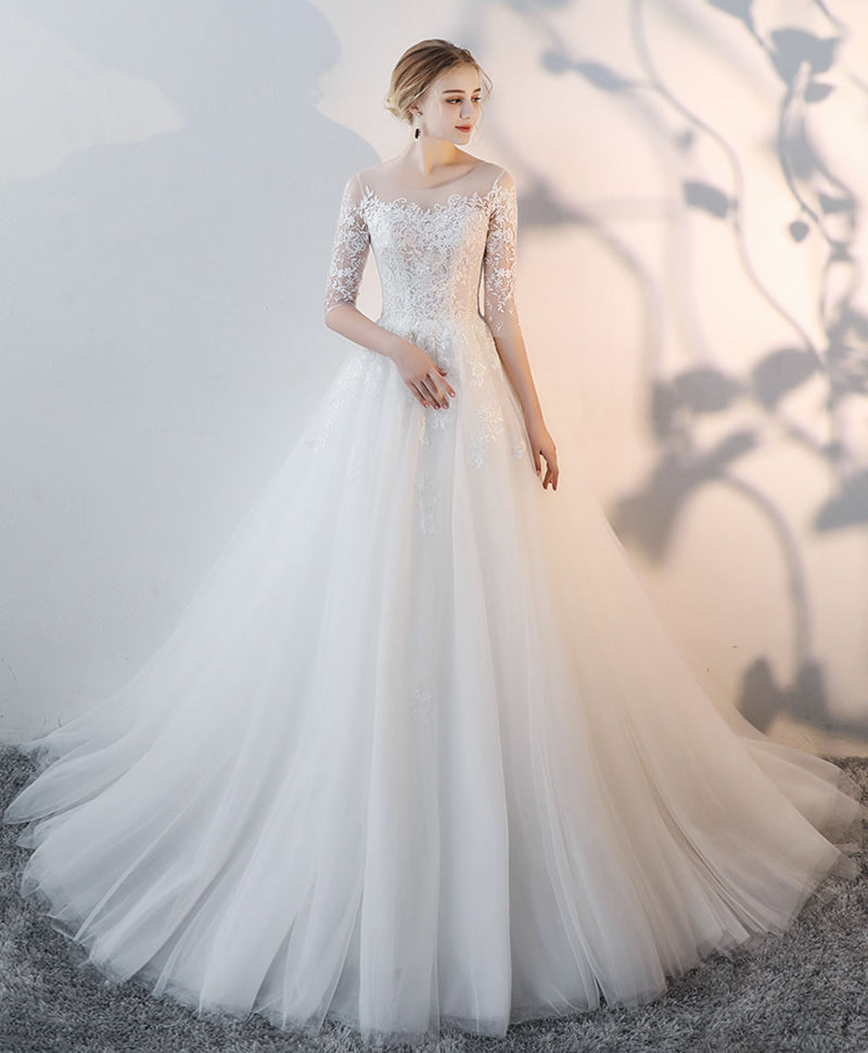 White round neck tulle lace long bridal gown lace wedding dress