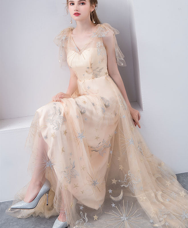 Champagne tulle v neck long prom dress, champagne tulle evening dress