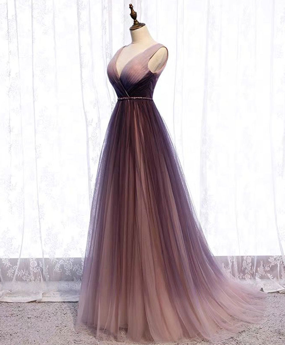 Simple v neck tulle long prom dress tulle evening dress