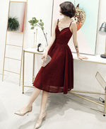 Simple v neck tulle sequin short prom dress, burgundy homecoming dress