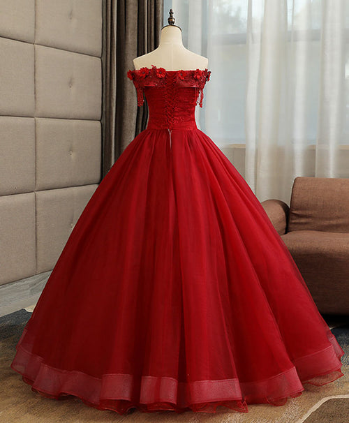 Burgundy tulle lace long prom gown, burgundy tulle lace formal dress