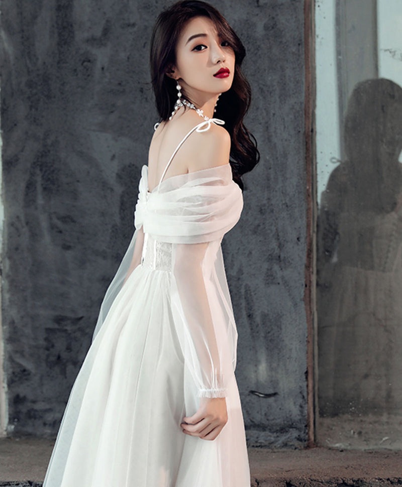 White sweetheart off shoulder tulle short prom dress