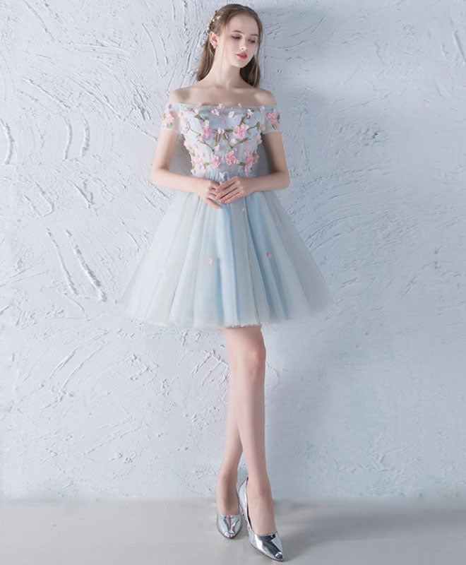 Gray blue tulle lace applique short prom dress, homecoming dress ...