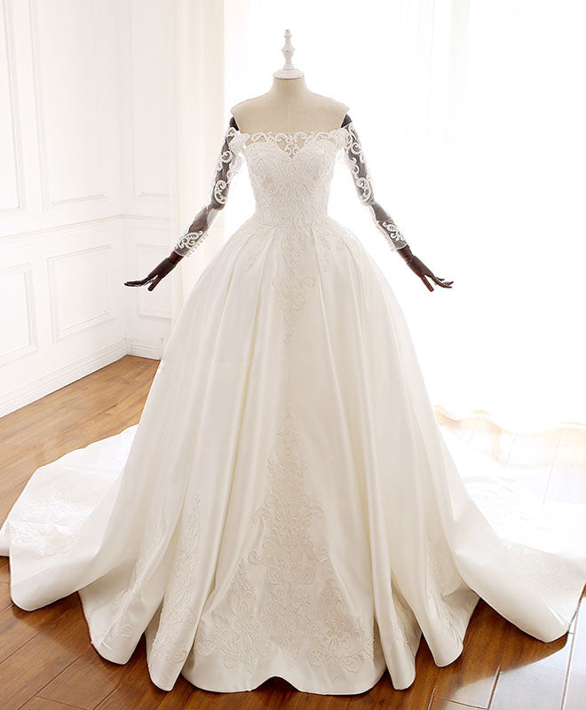 White lace satin long wedding dress, lace satin long bridal gown