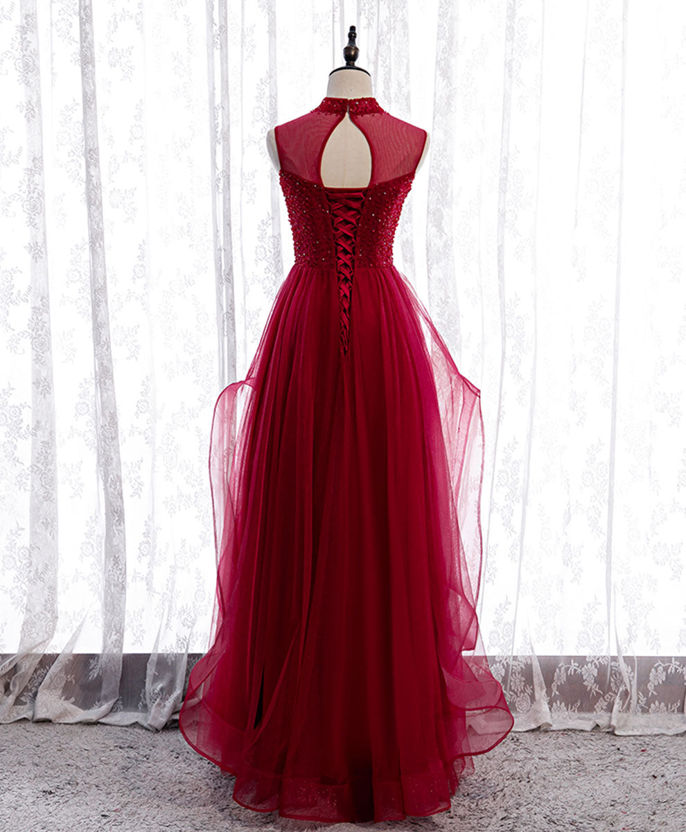 Burgundy high neck tulle sequin beads long evening dress