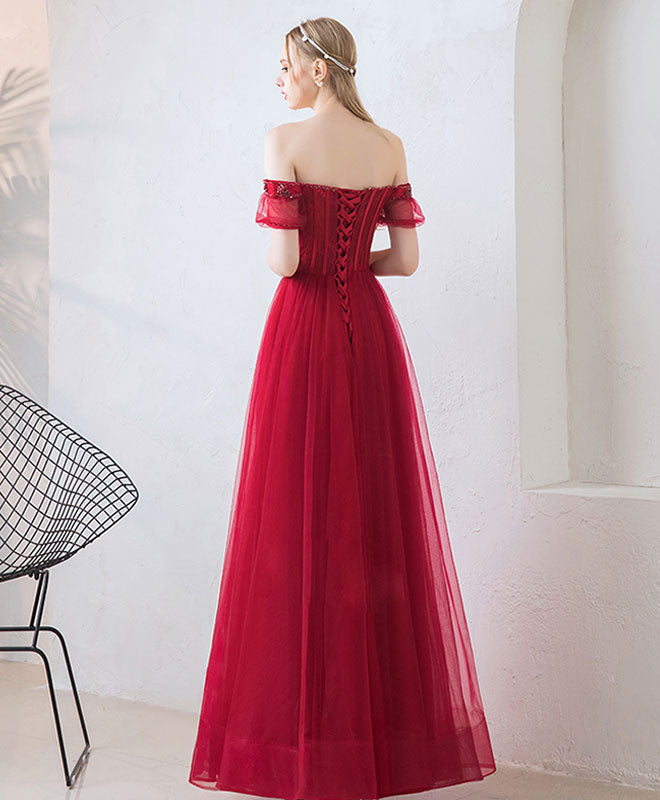 Burgundy tulle sweetheart lace long prom dress, burgundy evening dress