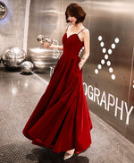 Burgundy sweetheart tea length prom dress, burgundy bridesmaid dress