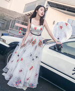 Unique white tulle tea length prom dress, tea length white evening dress