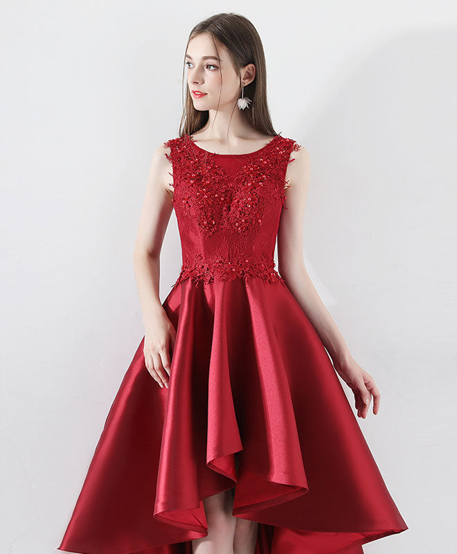 Burgundy round neck lace prom dress, burgundy bridesmaid dress
