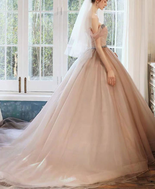 Pink off shoulder tulle long prom dress tulle wedding party dress