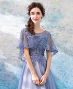 Blue round neck lace tulle tea Length prom dress, blue evening dress