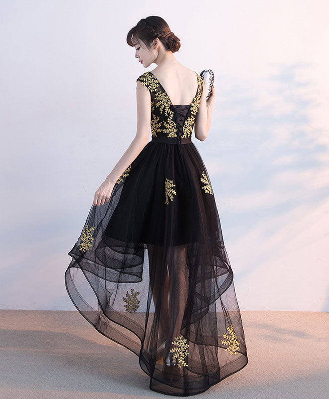 Black tulle lace prom dress, black lace formal dress