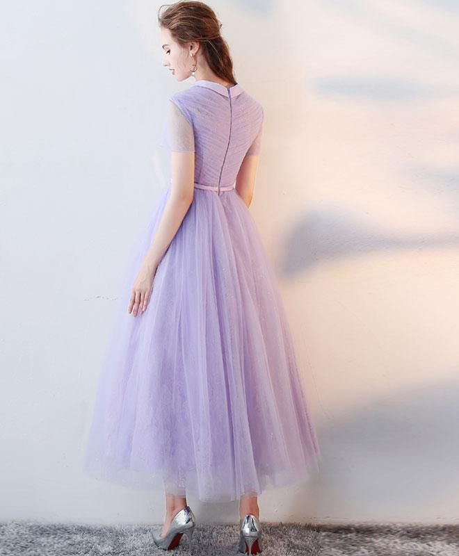 Purple high neck tulle lace prom dress tulle lace evening dress