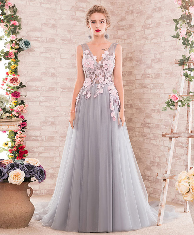 ea2062551ff9 Gray A-line v neck tulle lace applique long prom dress, gray evening dress