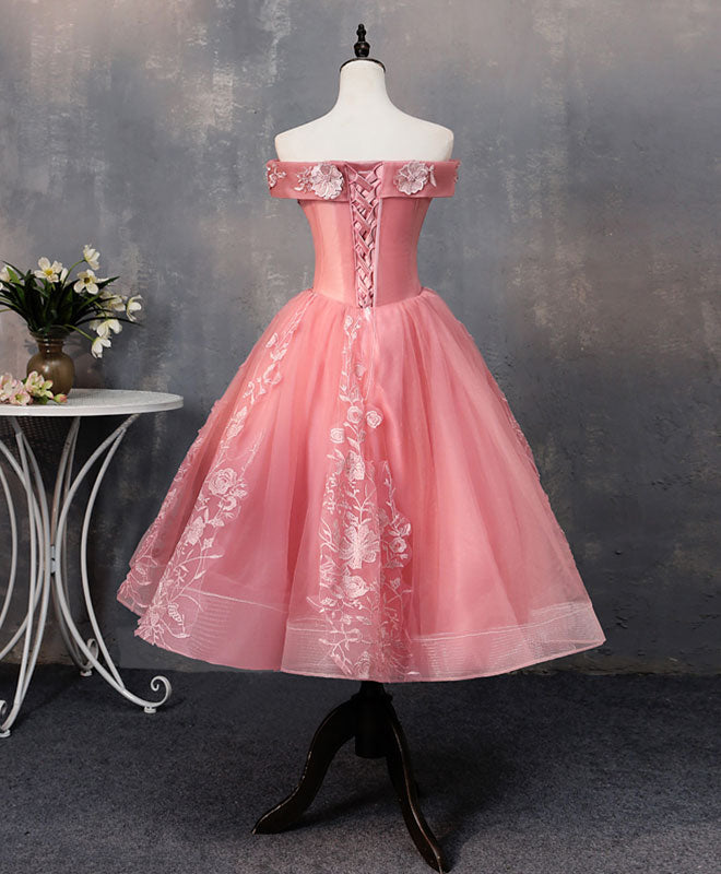 Pink tulle lace off shoulder short prom dress pink homecoming dress