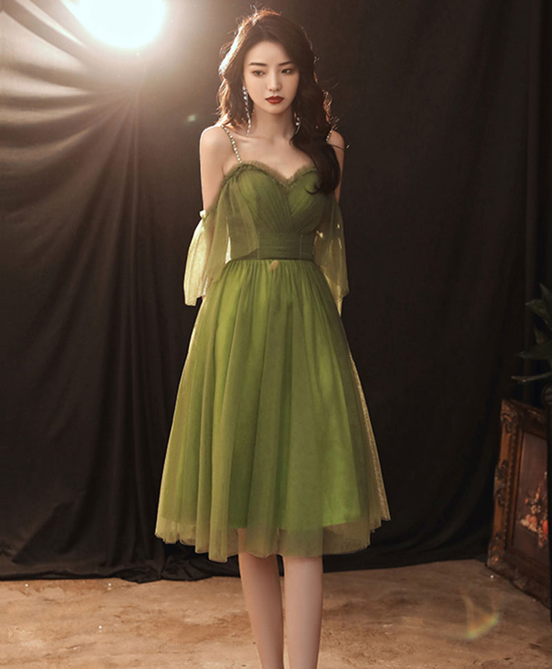 Simple green tulle short prom dress green evening dress