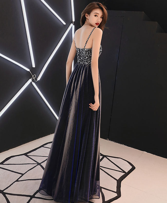 Dark blue sweetheart neck tulle long prom dress, blue evening dress