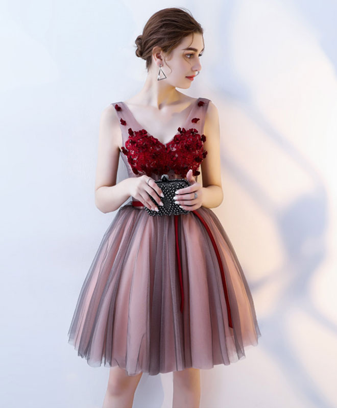 Burgundy v neck tulle short prom dress, tulle evening dress