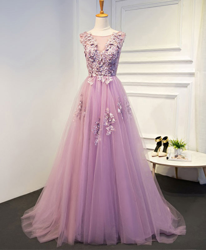 Elegant A line tulle lace long prom dress, evening dress