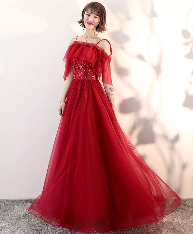 Stylish tulle long prom dress, lace evening dress