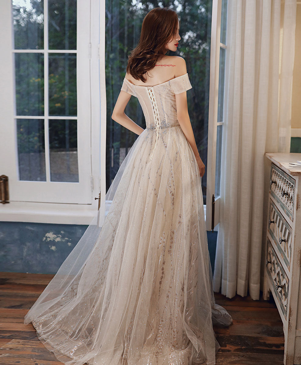 Simple light champagne tulle long prom dress tulle formal dress