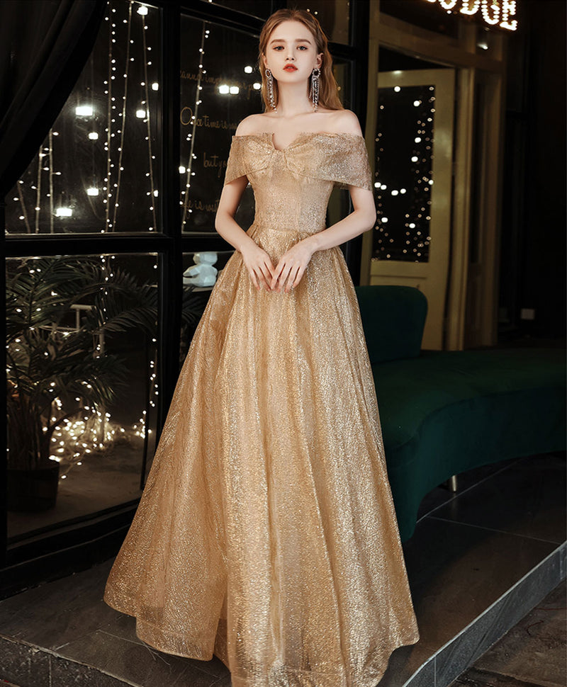 Gold tulle sequin off shoulder long prom dress gold evening dress