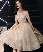 Champagne sweetheart tulle sequin short prom dress