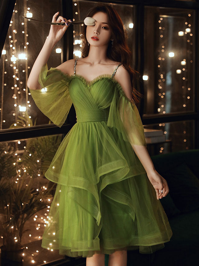 Green sweetheart neck green tulle prom dress green homecoming dress