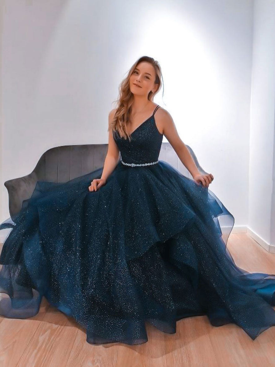 Blue v neck tulle sequin long prom dress blue formal dress