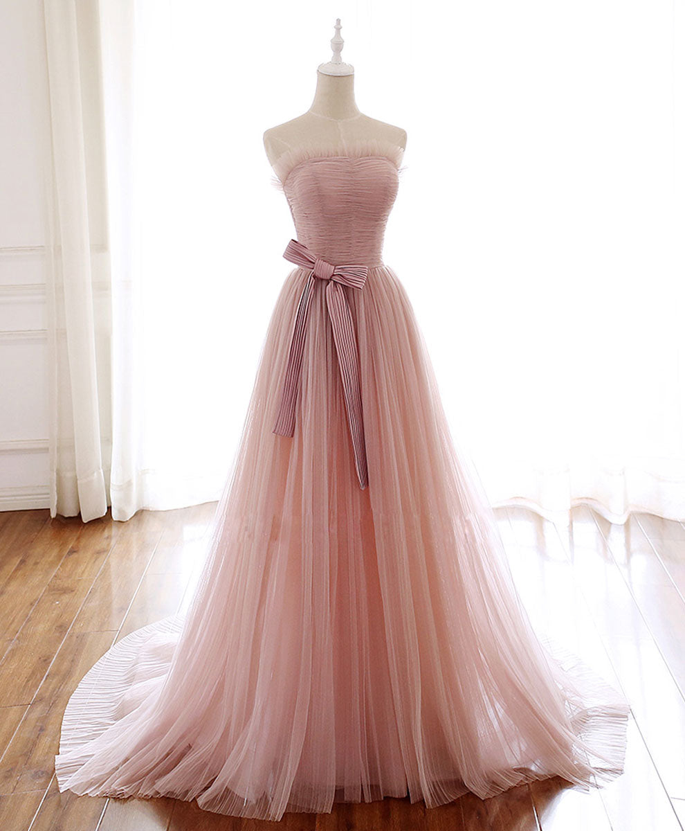 Simple pink tulle long prom dress pink tulle formal dress