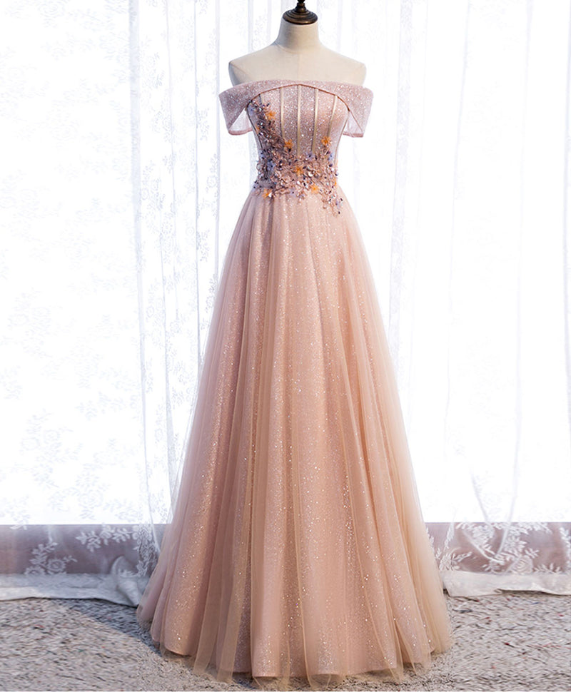 Pink tulle sequin beads long prom dress pink tulle formal dress