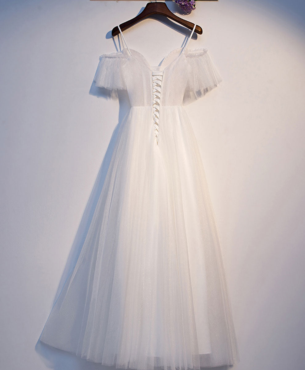 White sweetheart neck tulle long prom dress white evening dress
