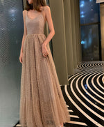 Simple champagne v neck tulle sequin long prom dress formal dress