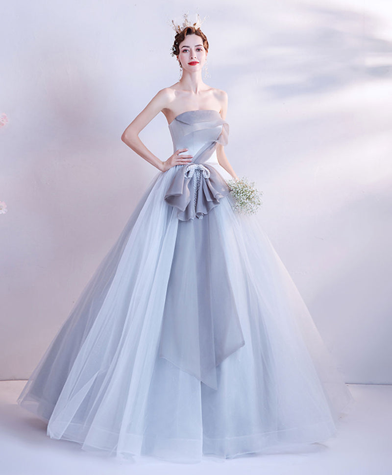 Gray tulle long prom gown gray tulle formal dress